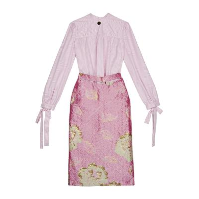 ribbon stripe skirt & jacquard midi skirt pink